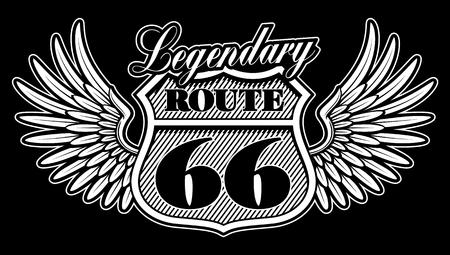 Emblema vintage en blanco y negro de la ruta 66 con alas.