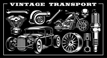 Set of black and white illustration of vintage transportation