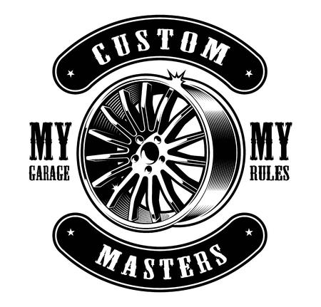 Vintage black and white emblem of car disk