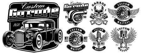 Black and white badges of Car service