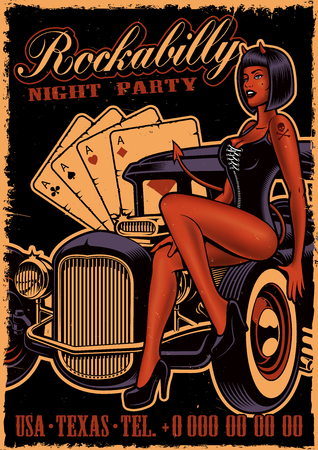Vintage poster with girl devil on the classic car.