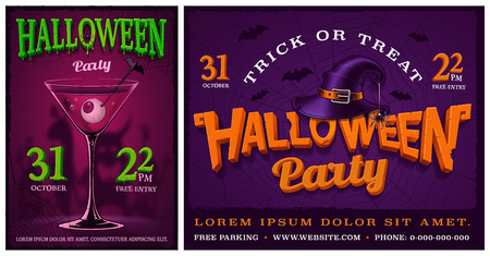 Set of halloween party posters on dark background.