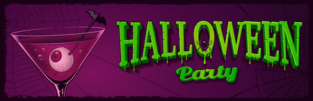 Halloween horizontal banner with illustration of cocktail with e