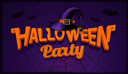 Halloween party banner with pumpkin lettering and hat of witch Иллюстрация