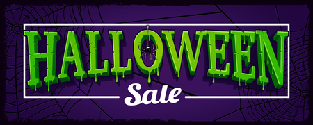 Halloween sale horizontal banner with web of spider