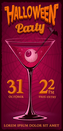 Halloween party Flyer with illustration of cocktail with eyes in