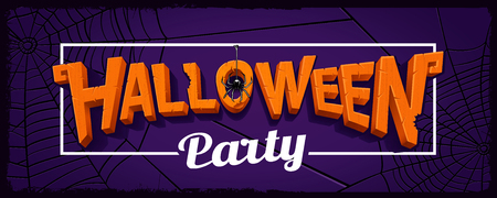 Halloween party horizontal banner with lettering of carved pumpk Иллюстрация