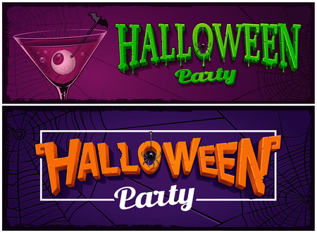 Set of halloween party banners for web Иллюстрация