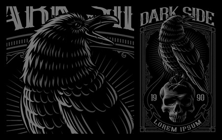 Black Raven on the skull. Vector illustration of print for the shirts on the dark background. Layered, text is on the separate group. Ilustracja