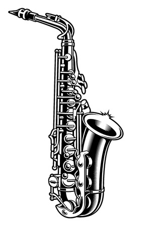 Saxophone black and white vector illustration on white background