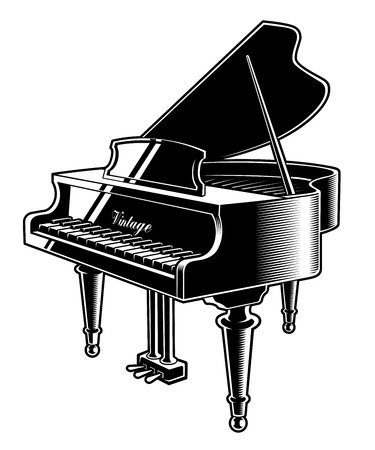 Vector illustration of the piano on white background