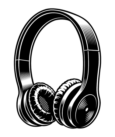 Black and white vector illustration of headphones. Иллюстрация