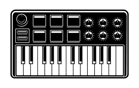 Black and white illustration of midi keyboard