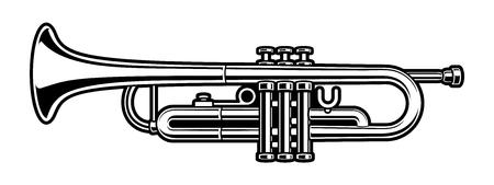 black and white illustration of trumpet on white background.
