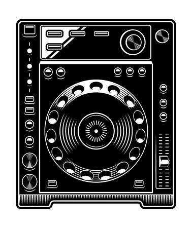 DJ CD player illustration on white background.