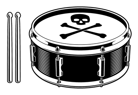 Black and white illustration of drum on the white background