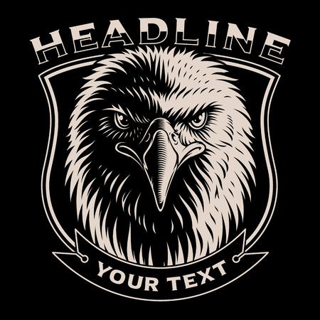 Black and white illustration of Eagle head