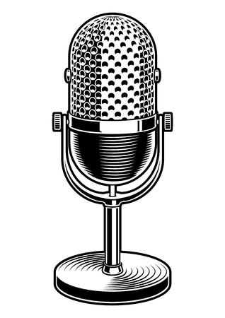 Black and white vector illustration of microphone