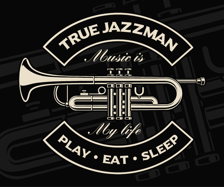 Vector illustration of trumpet on the dark background.