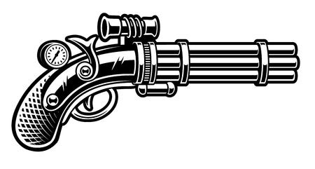 Ilustración de vector de pistola en estilo steampunk