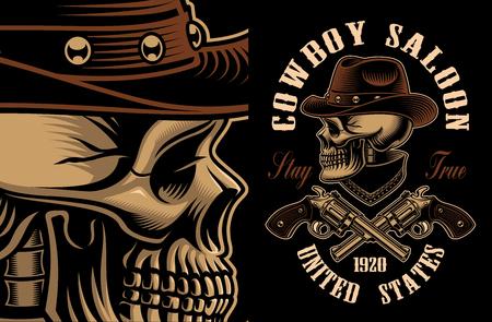 Vector illustration of cowboy skull with crossed handguns. Фото со стока