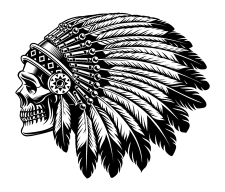Black and white illustration of an Indian skull. Фото со стока