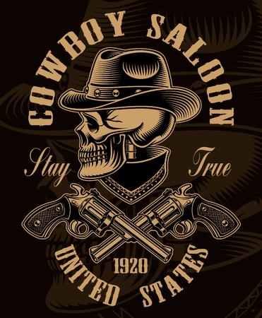 Black and white illustration of cowboy skull with crossed handgu Фото со стока