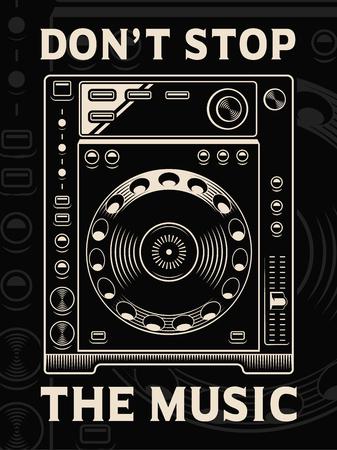 Vector illustration of dj player on dark background.