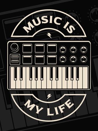 Vector illustration of midi keyboard on the dark background