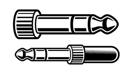 black and white illustration of headphones plug Иллюстрация