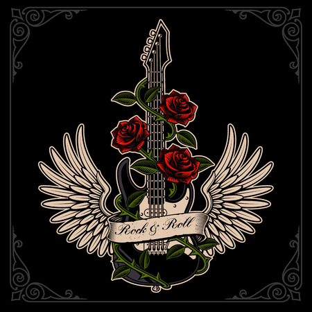 Vector illustration of guitar with wings and roses in tattoo sty 版權商用圖片