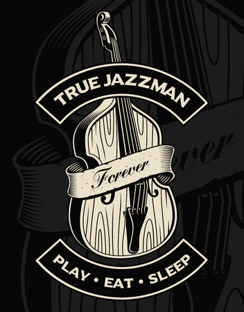 Vector illustration of double bass with ribbon, on the dark back