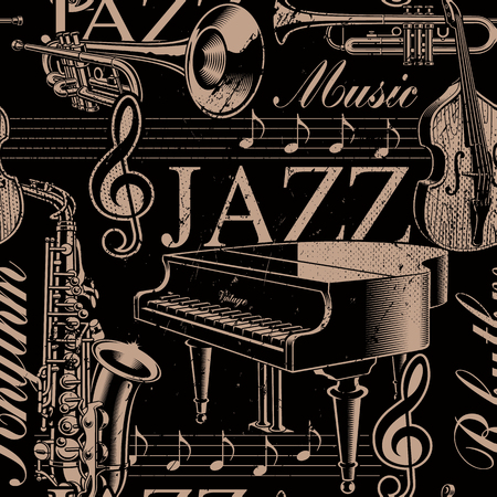 Musical black and white seamless background of jazz theme