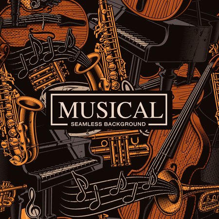 Musical seamless background with different musical instruments Фото со стока - 113403147