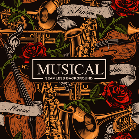 Musical colored seamless background in tattoo style
