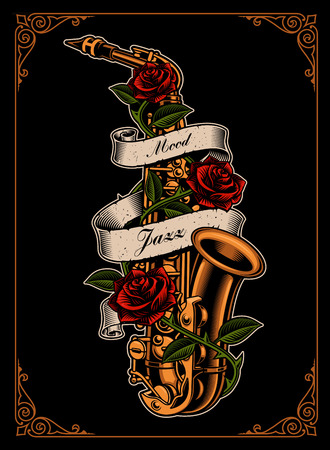 Vector illustration of saxophone with roses and ribbon Фото со стока - 113403152