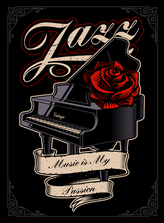Vector illustration of the piano with rose. 版權商用圖片