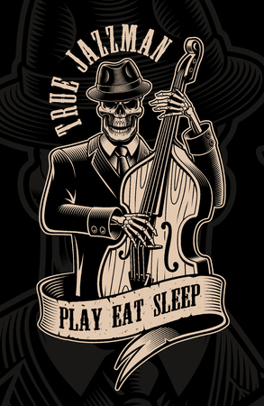 Vintage  illustration of skull musician with double bass Çizim