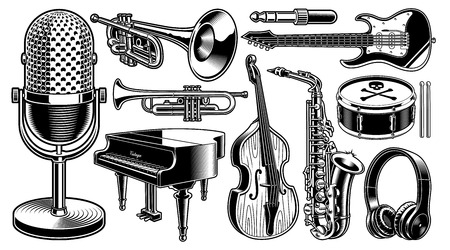Set of black and white illustrations of musical instruments Фото со стока - 113403169