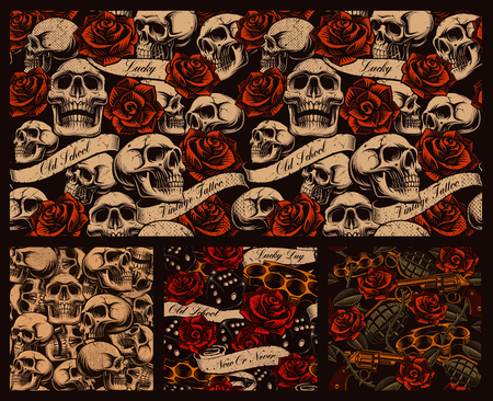 Set of seamless tattoo backgrounds with skulls, roses, and vintage ribbons.