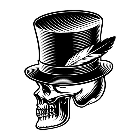 Vector illustration of a skull in cylindrical hat