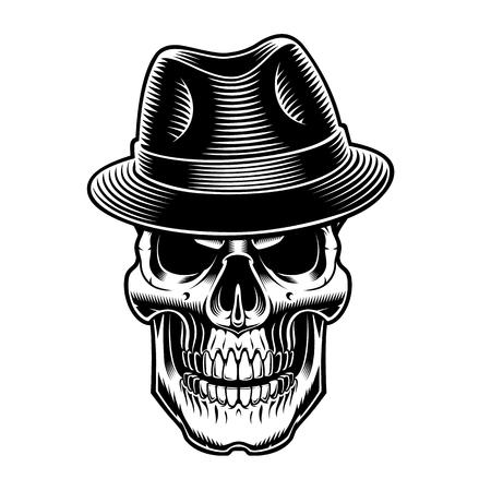 black and white illustration of vintage sull in hat. Иллюстрация