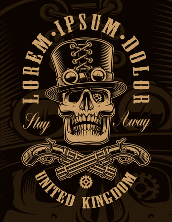 Black and white illustration of steampunk skull in vintage style on the dark background. Illustration