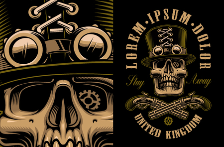The vector artwork of skull in hat with crossed handguns in steampunk style. All elements, colors, text are on the separate groups.
