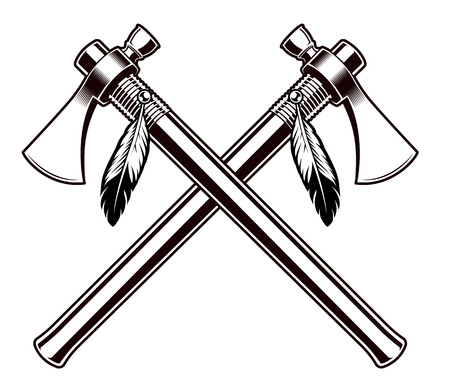 Black and white vector illustration of the tomahawks