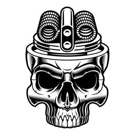 Black and white illustration of vape skull.