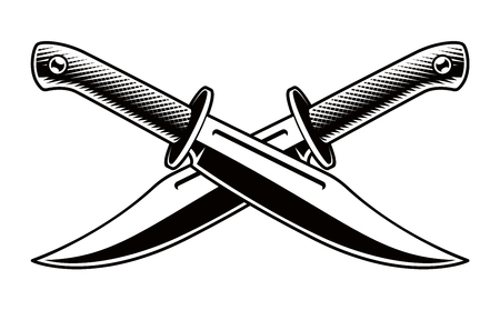 Vector illustration of crossed knives on white background