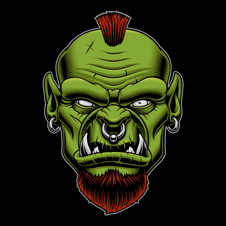 Vector illustration of an angry orc on the dark background. Stock Illustratie