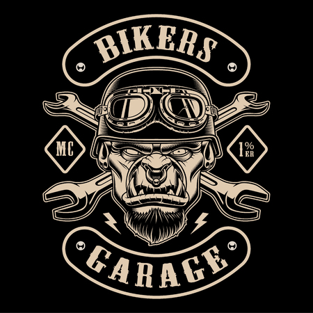 Black and white design of biker patch with the character. 向量圖像