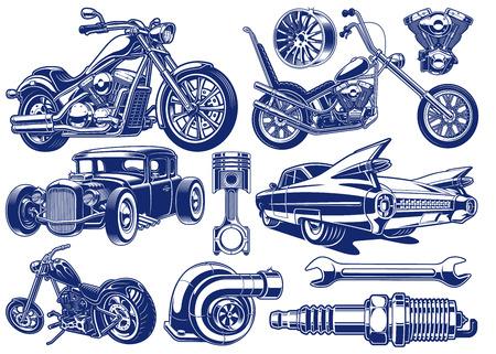 Czarno-białe ilustracje motywu transportu Ilustracje wektorowe